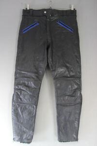 VINTAGE BLACK & BLUE LEATHER BIKER TROUSERS: WAIST 34 INCH/INSIDE LEG 28 INCH
