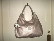 Kipling metallic silver large underarm shoulder bag 'Quinn' fluffy monkey