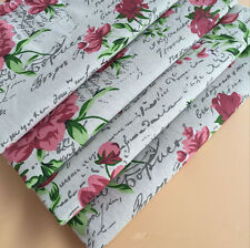 50x150cm Cotton Linen Fabric Print English Letter Poney Flower DIY Craft Cloth F
