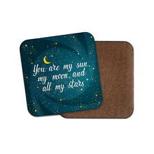 Cute Moon & Stars Coaster - Boyfriend Girlfriend Wife Husband Space Gift #15433