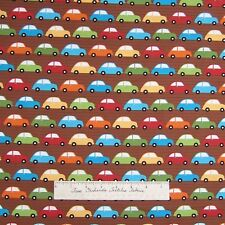 City Centre Fabric - Red Orange Green Blue Cars Brown - Robert Kaufman Cotton Yd