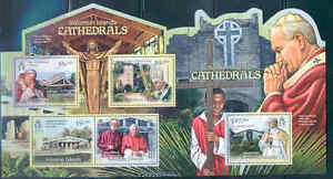 SOLOMON ISLANDS CATHEDRALS POPE JOHN PAUL II POPE BENEDICT XVI MASTER SHEET