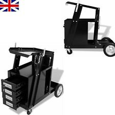 vidaXL Welding Cart With 4 Drawers Black Tool Storage Organisation Cabinet