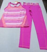 Gymboree Gymgo L 10-12 Sporty Pink Stripes & Flowers Tank Top & Leggings NWT
