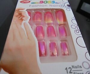 Boite de 12 Faux ongles plastiques pré décoré de couleur irisée rose, neuf