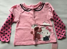 Baby Girls Pink Top with Long Sleeve and Hello Kitty detail