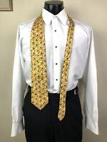 ERMENEGILDO ZEGNA Elegant Gold Triangle Geometric Mens Silk Neck Tie Long Italy