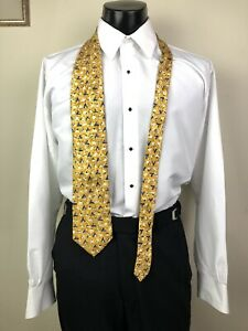 ERMENEGILDO ZEGNA Elegant Gold Triangle Geometric Mens Silk Neck Tie Long Italy