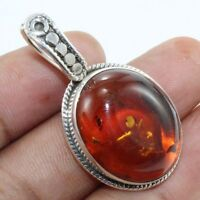 Solid 925 Sterling Silver Jewelry Baltic Amber Gemstone Pendant