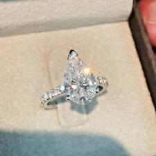 Certified 3.25Ct Pear Cut Moissanite Halo Engagement Ring In Real 14k White Gold
