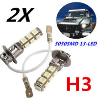 2X NEW H3 Fog Light 5050SMD 13-LED Front Head Driving Globe Xenon White 12V