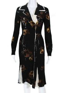 Prada Womens Silk Floral Long Sleeve Knee Length Shirt Dress Black Size IT 40