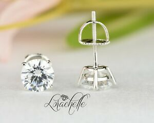 2.0 ct Brilliant Round Cut Screw Back Earring Studs Real Solid 14K White Gold