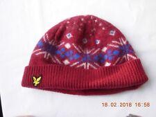 Lyle & Scott Hawick Scotland lambswool beanie burgundy snowflake one size
