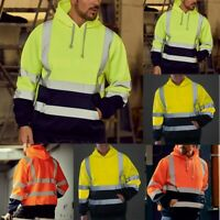 Mens Road Work High Visibility Pullover Long Sleeve Hooded Sweatshirt Top Blouse