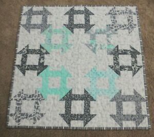 """Hand Made Quilted Table Runner/Topper ~ 21 1/2"""" ~ Aqua, Grey, White~100% cotton"""