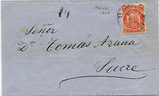BOLIVIA, COVER, DATED POTOSI' 1868, TO SUCRE, STAMP 10 CENTAVOS       m