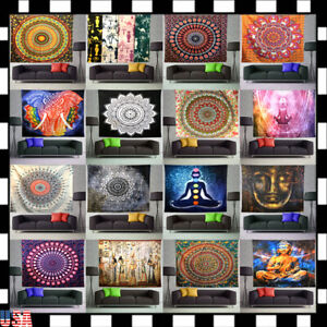 Hippie Meditation Bohemian Mandala Wall Hanging Deco Tapestry Bedspread Poster U