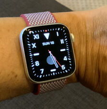 Apple Watch Series 5 44mm Silver Aluminum Case - Apple Woven + White Sport Bands