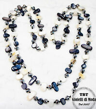 Collana Lunga Madreperla,perle,pietre Dure,cristalli da donna 36 colori n.bianco