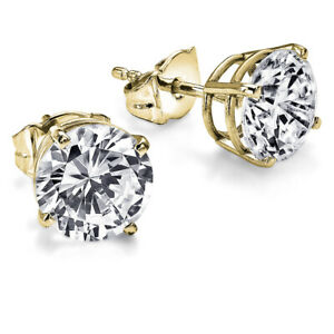 £3,650 Solitaire Diamond Earrings 1.50 Carat ctw Yellow Gold Stud I2 28853127