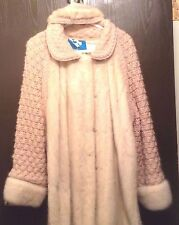 Women's Custom made 100% Wool  Knitting with White OFF Mink 14 Coat w Headband