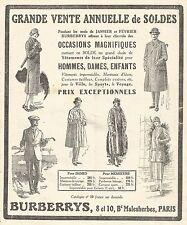 W7459 Impermeabili e Mantelli BURBERRYS - Pubblicità del 1926 - Old advertising