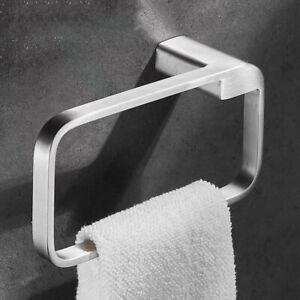 Brushed Nickel Towel Ring Wall Mount Stainless Steel Towel Holder Hanger Square