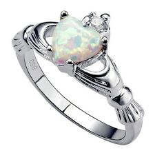 .925 Sterling Silver Ring size 9 CZ Claddagh Opal Heart White Midi Ladies New