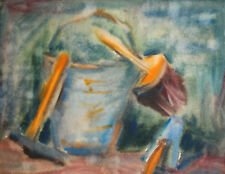 Vintage impressionist watercolor painting still life with bucket and tools