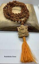 RUDRAKSHA MALA RUDRAKSH JAPA MALA 108 +1 GANESHA GURU BEAD YOGA HINDU MEDITATION