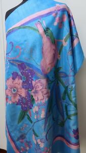 *Vintage 89cm Square Blue & Pink Floral Printed Thai Silk Scarf