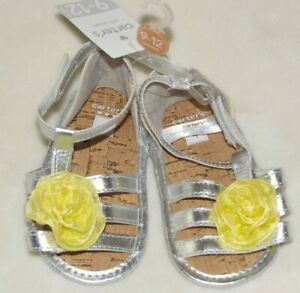 Carter's Yellow Flower SILVER Crib Sandals Shoes Infant baby 4 9-12 M Girl NWT