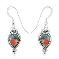 Santa Fe Style 925 Silver Spiny Turquoise Dangle Drop Earrings Southwest Jewelry