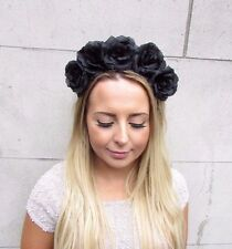 Large Black Rose Flower Garland Headband Festival Hair Band Crown Goth Boho 2982