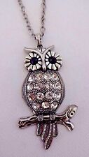 Owl necklace antiqued silver clear crystals 28 inch cable chain slip on night