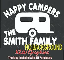 Happy Camper Decal Window Bumper Sticker Car Rv Motor Home Camping Glamping Name