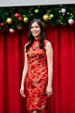 Custom red short Mandarin collar Qipao Chinese dress WITH knot necklace