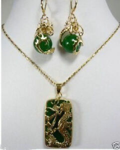 Charming Green jade Dragon Pendant necklace earring set