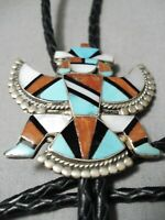 DRAMATIC VINTAGE ZUNI TURQUOISE STERLING SILVER BOLO OLD