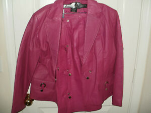 LEATHER DRESS SUIT -  JACKET and SKIRT  -size 18