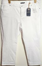 Monsoon Blue 73 Isadora Jeans Uk 22 Regular Mid Rise Capri White Bnwt