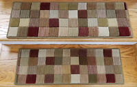 """Red/Multi Stair Treads by Rug Depot - Set of 7 Wool Non Slip Treads 27"""" x 9"""""""