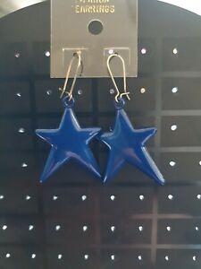 BNWT Blue Star Shape Drop Dangle Earrings