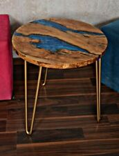 rustic olive wood and resin round coffee table 19,7""
