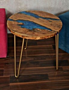 """rustic olive wood and resin round coffee table 19,7"""""""