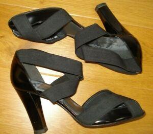 STUART WEITZMAN High Heels Sexy Black Elastic Strap Patent Peeptoe Shoes 8M