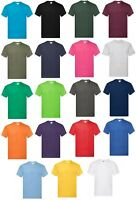 Fruit Of The Loom Mens 3 or 5 Pack 100% Cotton Plain T-Shirts Tee Top T Shirt