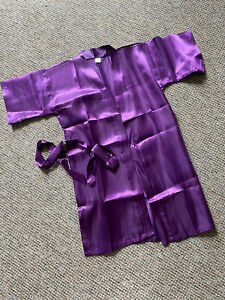 3/4 Length Sleeve Purple Satin Childs Kimono Gown, Approx Age 4-5 Years Old