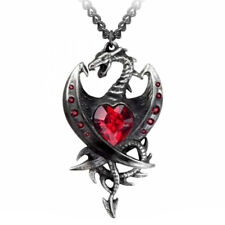 ALCHEMY DIAMOND HEART DRAGON PENDANT Red Swarovski Heart Gothic +FREE GIFT BOX